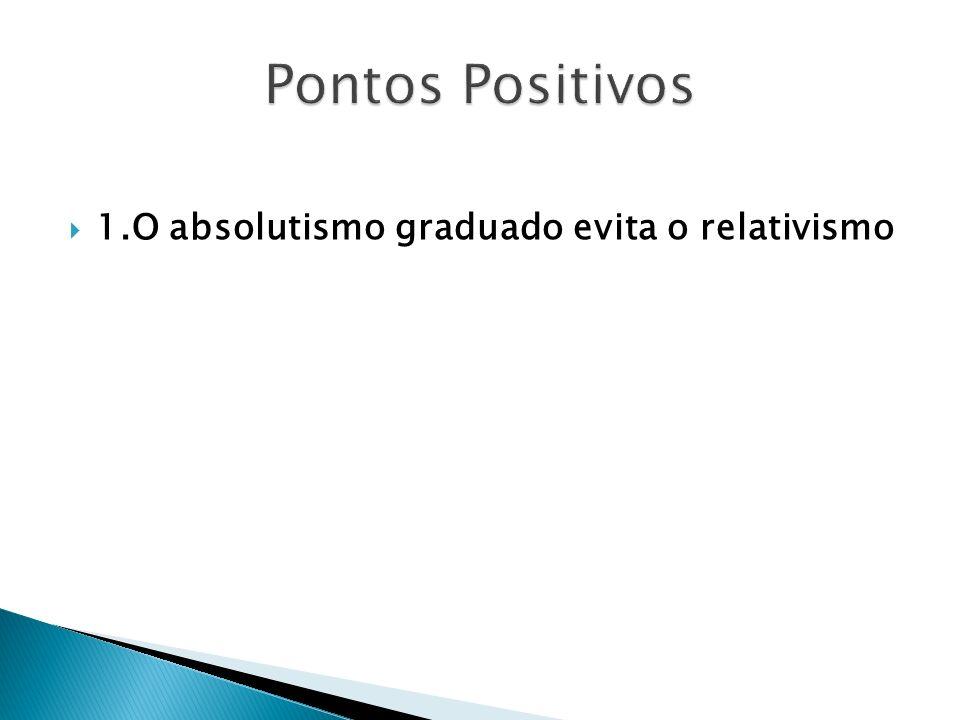 Pontos Positivos 1.O absolutismo graduado evita o relativismo
