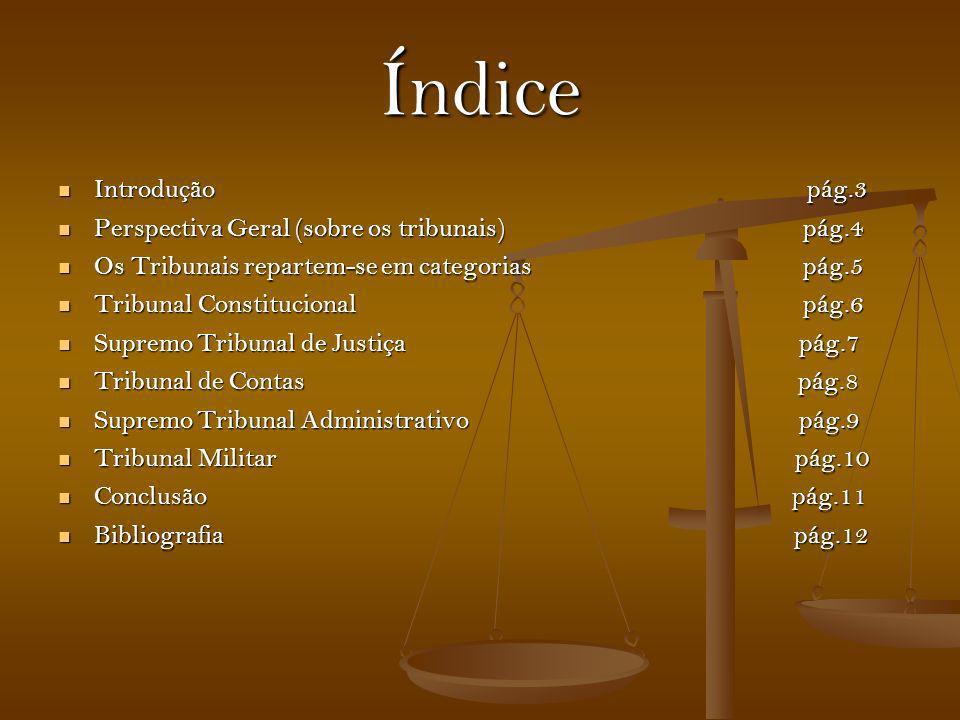 Índice Introdução pág.3 Perspectiva Geral (sobre os tribunais) pág.4
