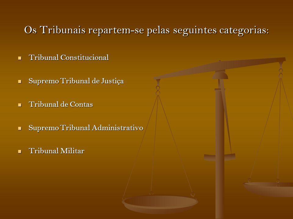 Os Tribunais repartem-se pelas seguintes categorias: