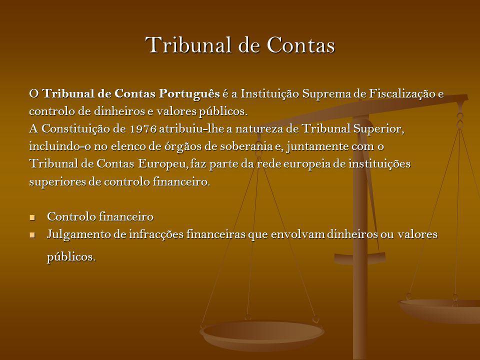 Tribunal de Contas O Tribunal de Contas Português é a Instituição Suprema de Fiscalização e. controlo de dinheiros e valores públicos.