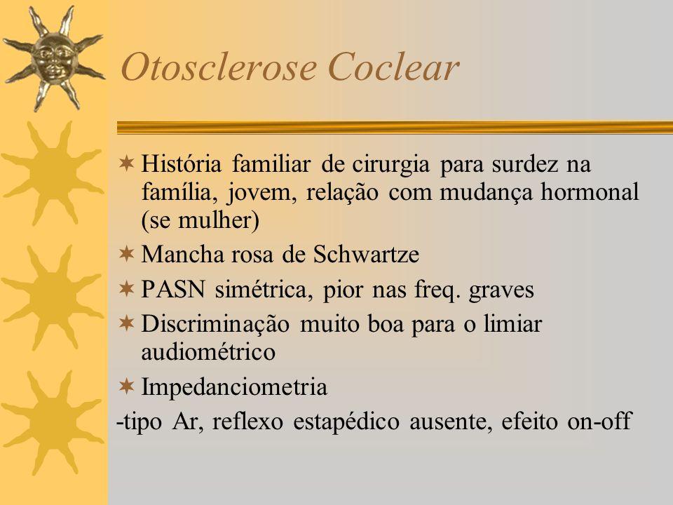 Otosclerose Coclear História familiar de cirurgia para surdez na família, jovem, relação com mudança hormonal (se mulher)