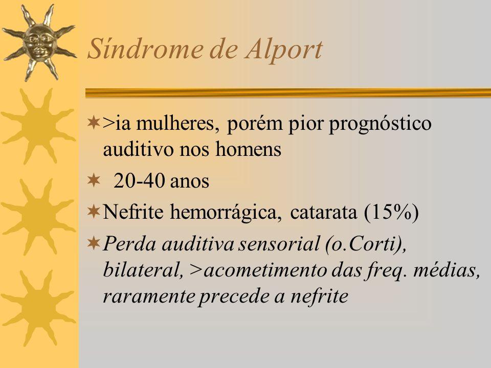Síndrome de Alport >ia mulheres, porém pior prognóstico auditivo nos homens. 20-40 anos. Nefrite hemorrágica, catarata (15%)