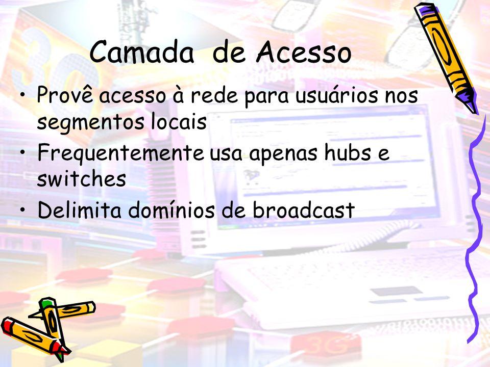 Camada de Acesso Provê acesso à rede para usuários nos segmentos locais. Frequentemente usa apenas hubs e switches.