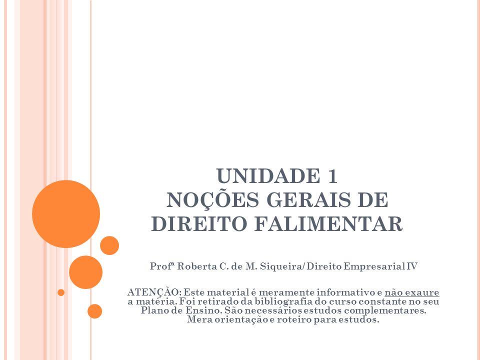 UNIDADE 1 NOÇÕES GERAIS DE DIREITO FALIMENTAR