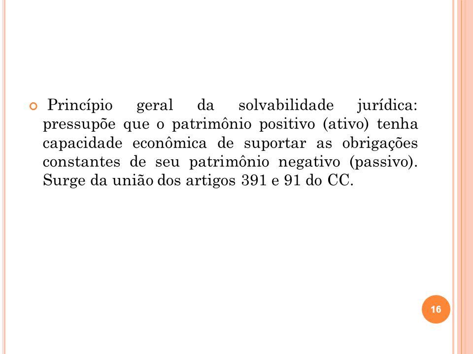 Princípio geral da solvabilidade jurídica: pressupõe que o patrimônio positivo (ativo) tenha capacidade econômica de suportar as obrigações constantes de seu patrimônio negativo (passivo).