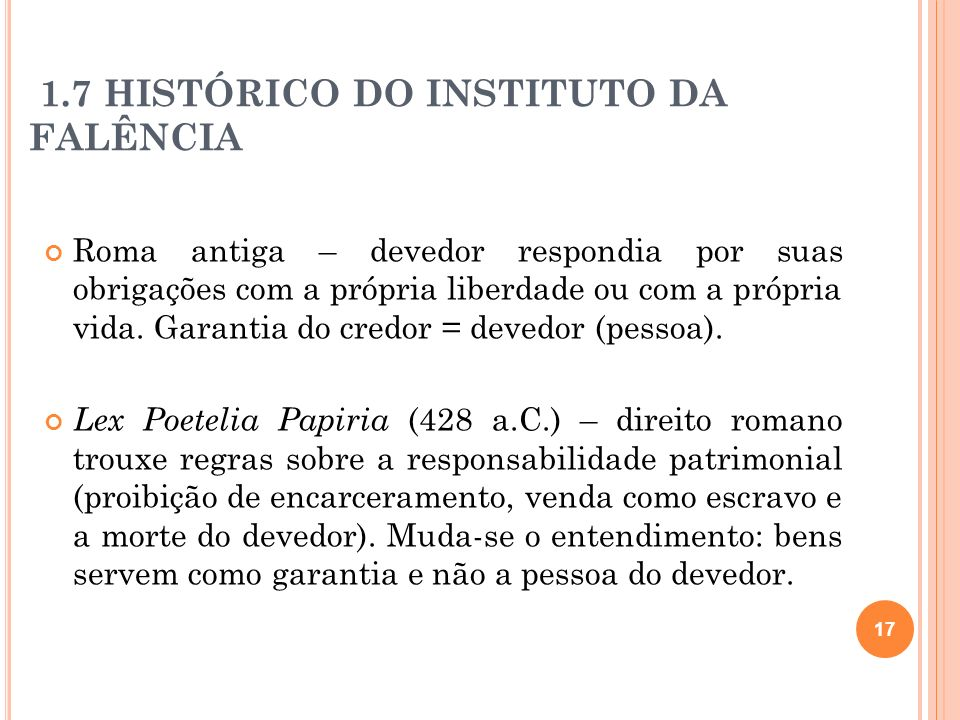 1.7 HISTÓRICO DO INSTITUTO DA FALÊNCIA