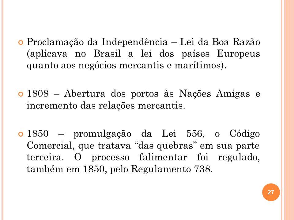 Proclamação da Independência – Lei da Boa Razão (aplicava no Brasil a lei dos países Europeus quanto aos negócios mercantis e marítimos).