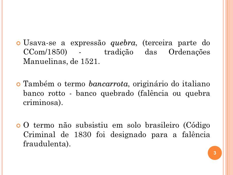 Usava-se a expressão quebra, (terceira parte do CCom/1850) - tradição das Ordenações Manuelinas, de 1521.