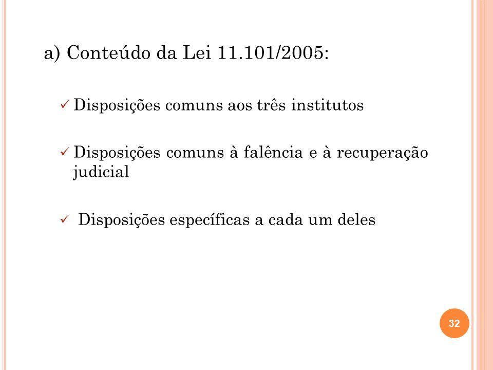 a) Conteúdo da Lei 11.101/2005: Disposições comuns aos três institutos