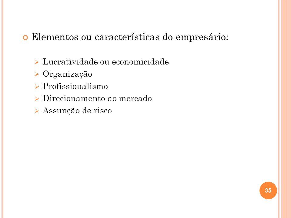 Elementos ou características do empresário: