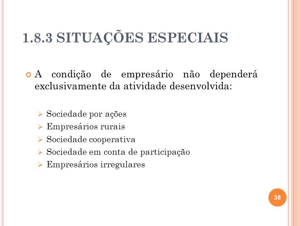 1.8.3 SITUAÇÕES ESPECIAIS A condição de empresário não dependerá exclusivamente da atividade desenvolvida: