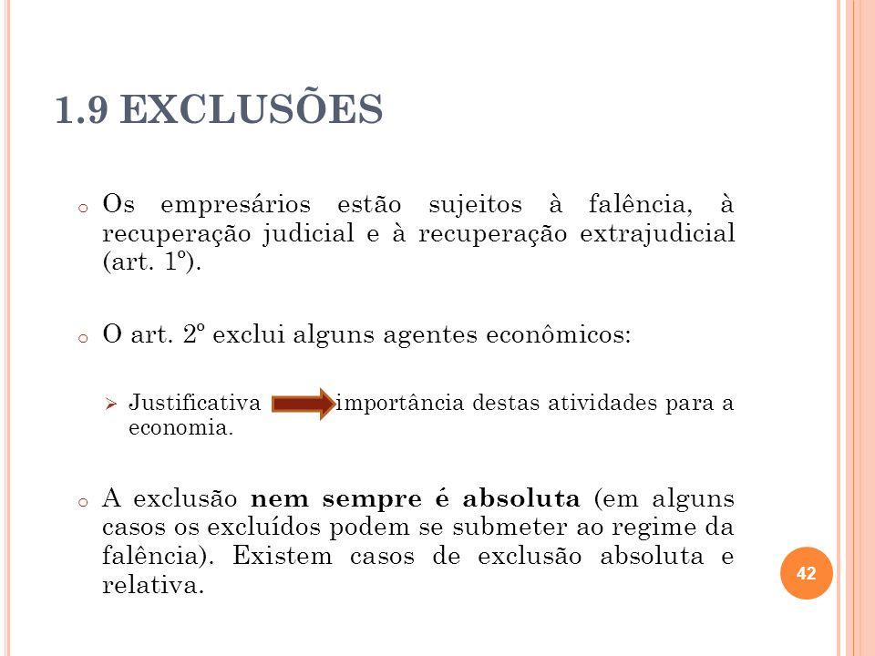 1.9 EXCLUSÕESOs empresários estão sujeitos à falência, à recuperação judicial e à recuperação extrajudicial (art. 1º).
