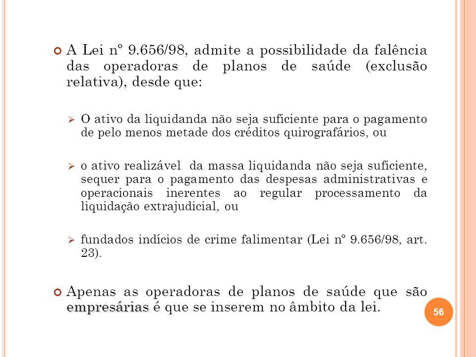 A Lei nº 9.656/98, admite a possibilidade da falência das operadoras de planos de saúde (exclusão relativa), desde que: