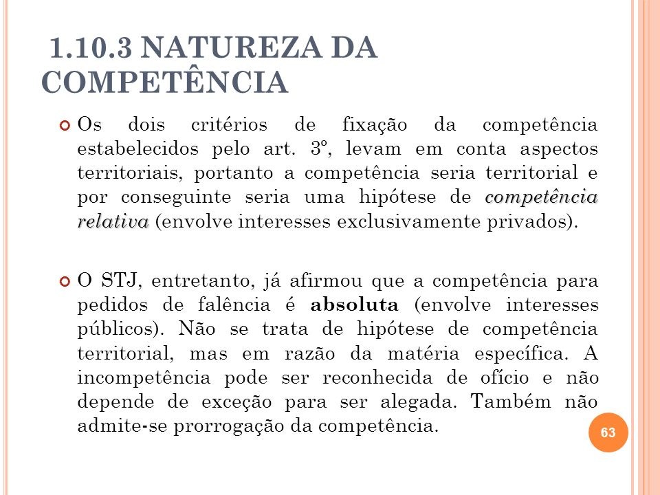 1.10.3 NATUREZA DA COMPETÊNCIA
