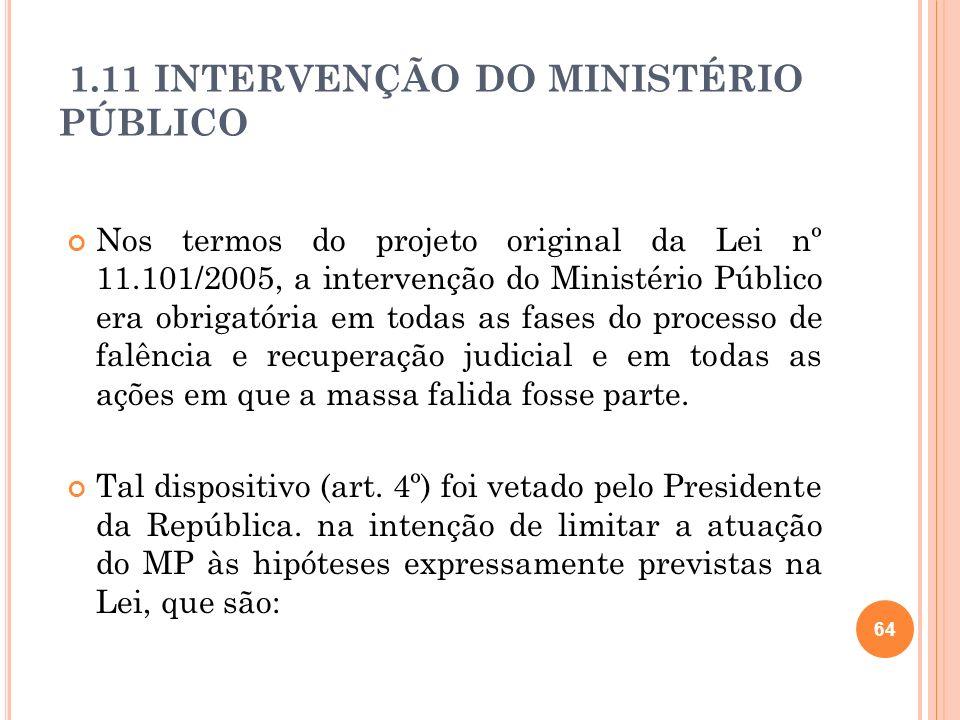1.11 INTERVENÇÃO DO MINISTÉRIO PÚBLICO