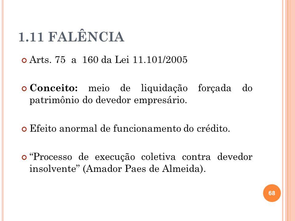 1.11 FALÊNCIAArts. 75 a 160 da Lei 11.101/2005. Conceito: meio de liquidação forçada do patrimônio do devedor empresário.
