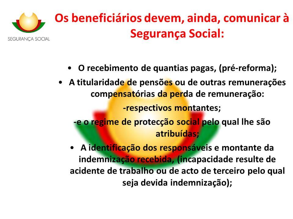 Os beneficiários devem, ainda, comunicar à Segurança Social: