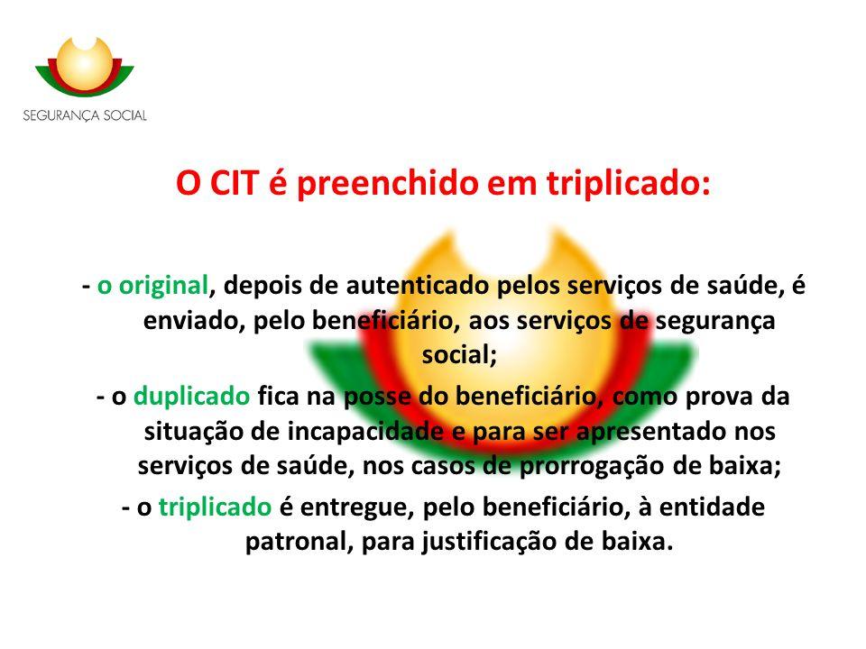 O CIT é preenchido em triplicado: