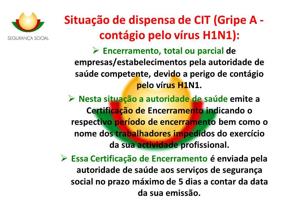 Situação de dispensa de CIT (Gripe A - contágio pelo vírus H1N1):