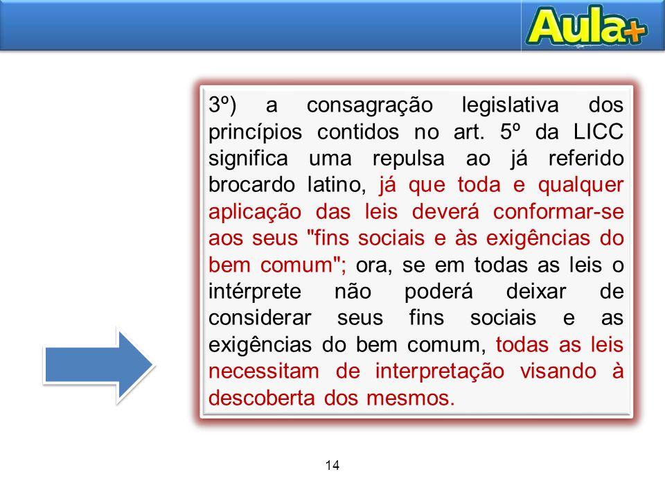 3º) a consagração legislativa dos princípios contidos no art