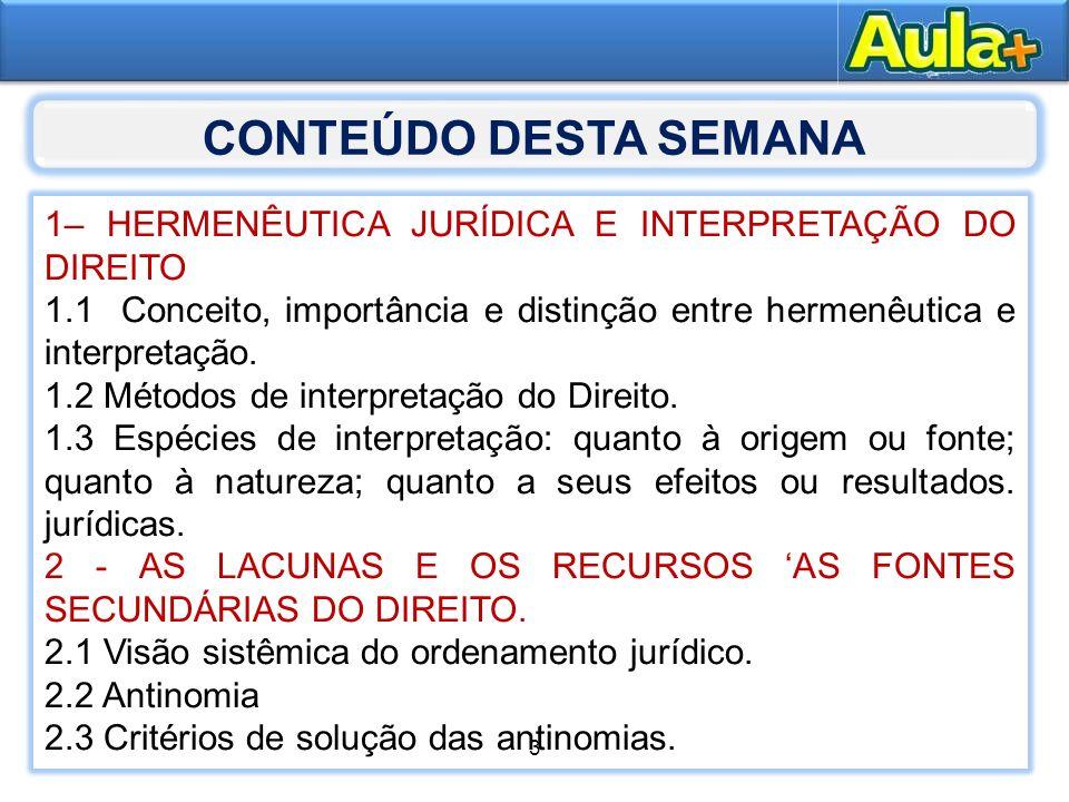 CONTEÚDO DESTA SEMANA1– HERMENÊUTICA JURÍDICA E INTERPRETAÇÃO DO DIREITO. 1.1 Conceito, importância e distinção entre hermenêutica e interpretação.