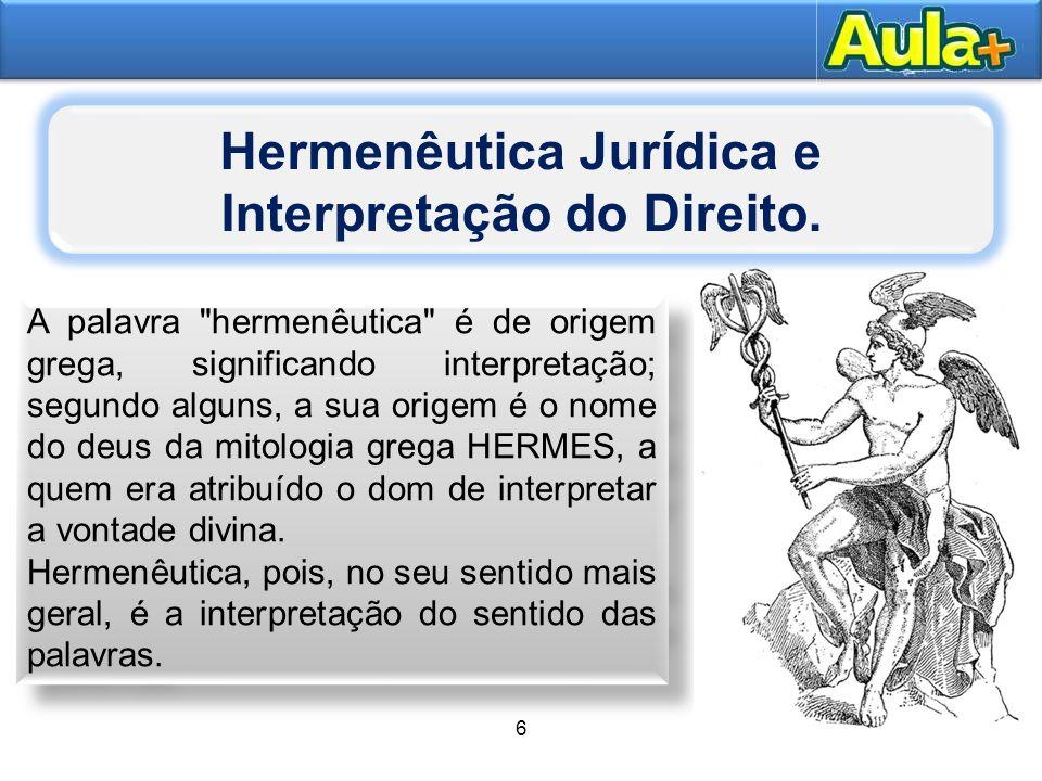 Hermenêutica Jurídica e Interpretação do Direito.