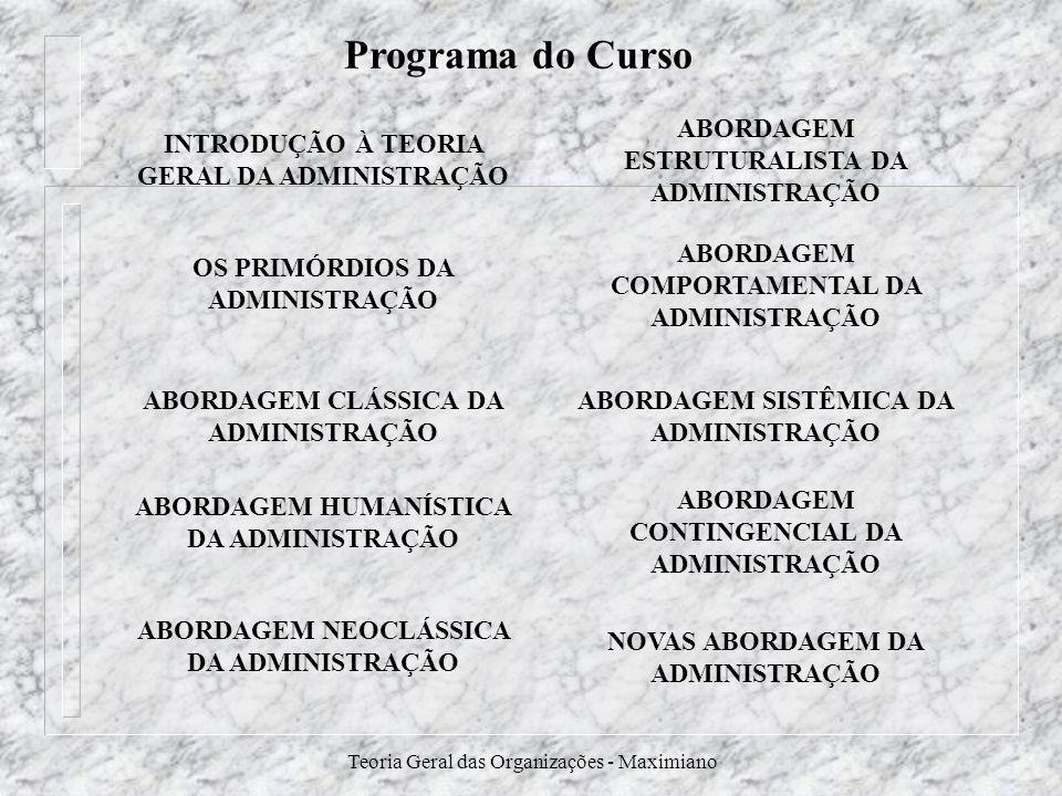 Programa do Curso INTRODUÇÃO À TEORIA GERAL DA ADMINISTRAÇÃO