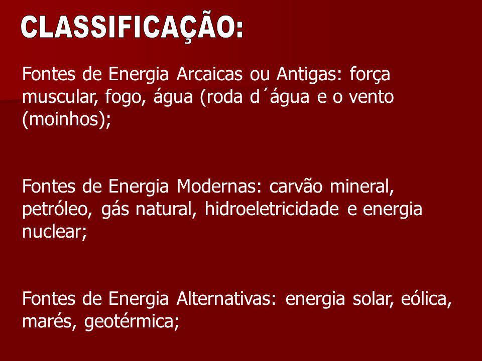 CLASSIFICAÇÃO: Fontes de Energia Arcaicas ou Antigas: força muscular, fogo, água (roda d´água e o vento (moinhos);