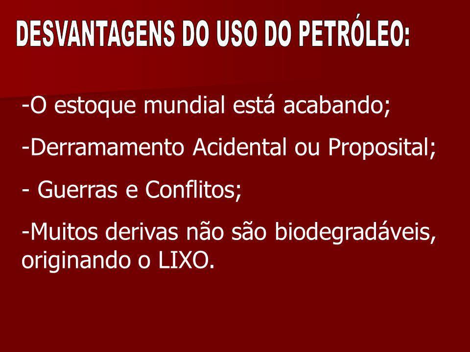 DESVANTAGENS DO USO DO PETRÓLEO: