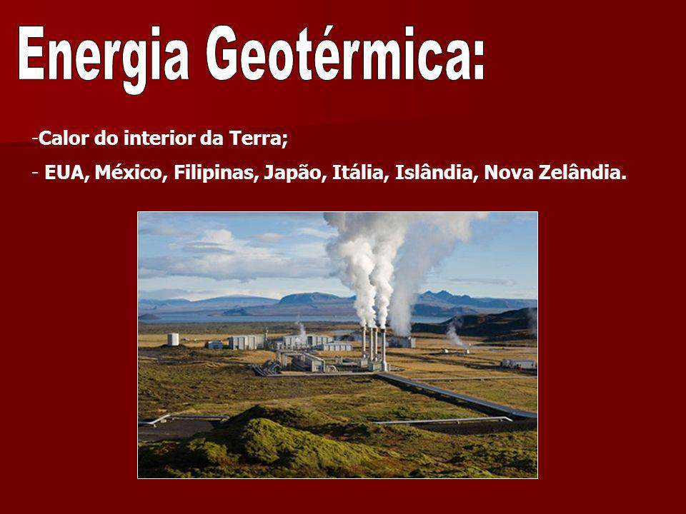 Energia Geotérmica: Calor do interior da Terra;