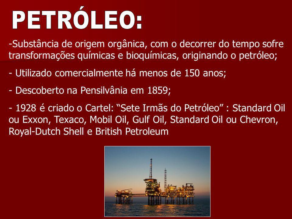 PETRÓLEO: Substância de origem orgânica, com o decorrer do tempo sofre transformações químicas e bioquímicas, originando o petróleo;