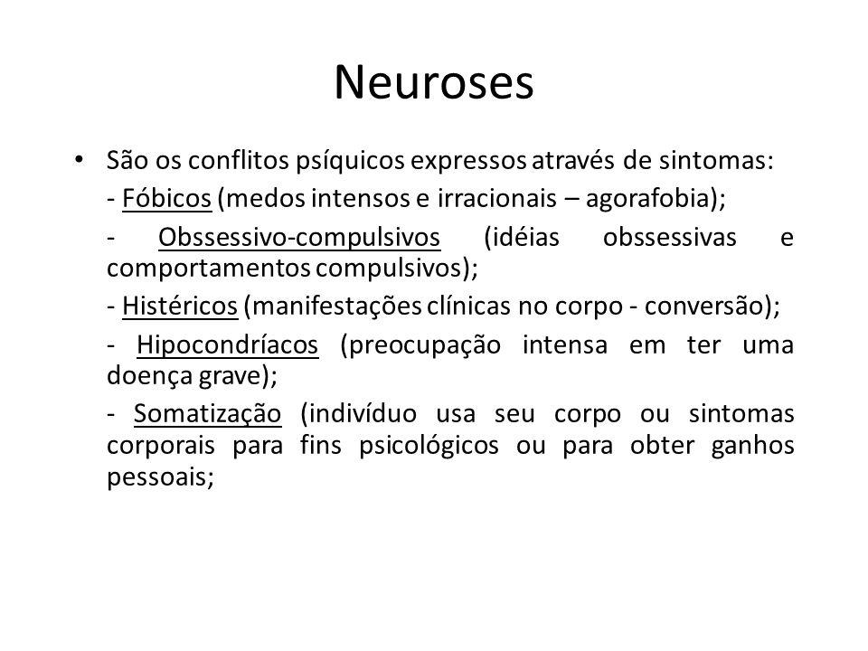 Neuroses São os conflitos psíquicos expressos através de sintomas: