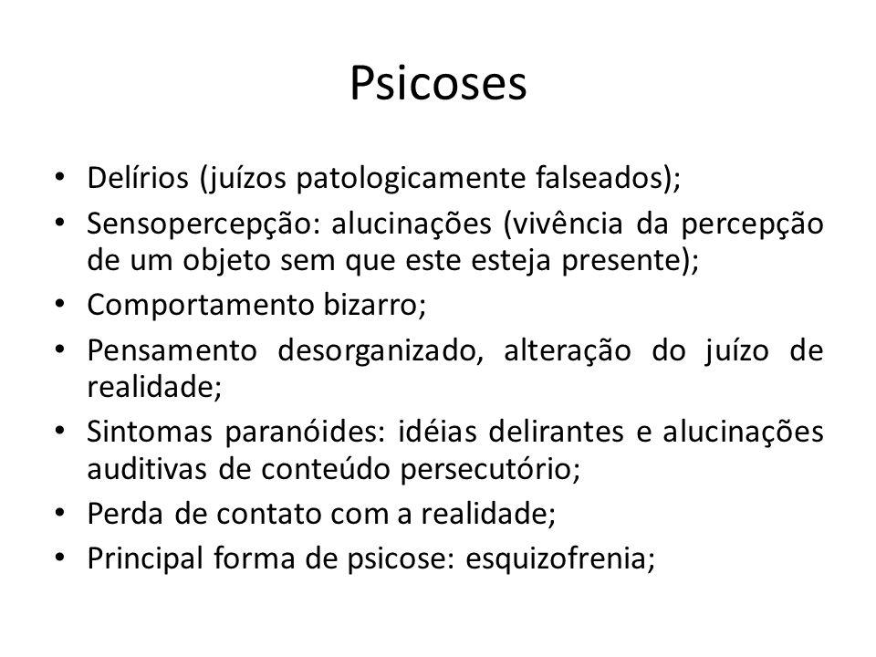 Psicoses Delírios (juízos patologicamente falseados);