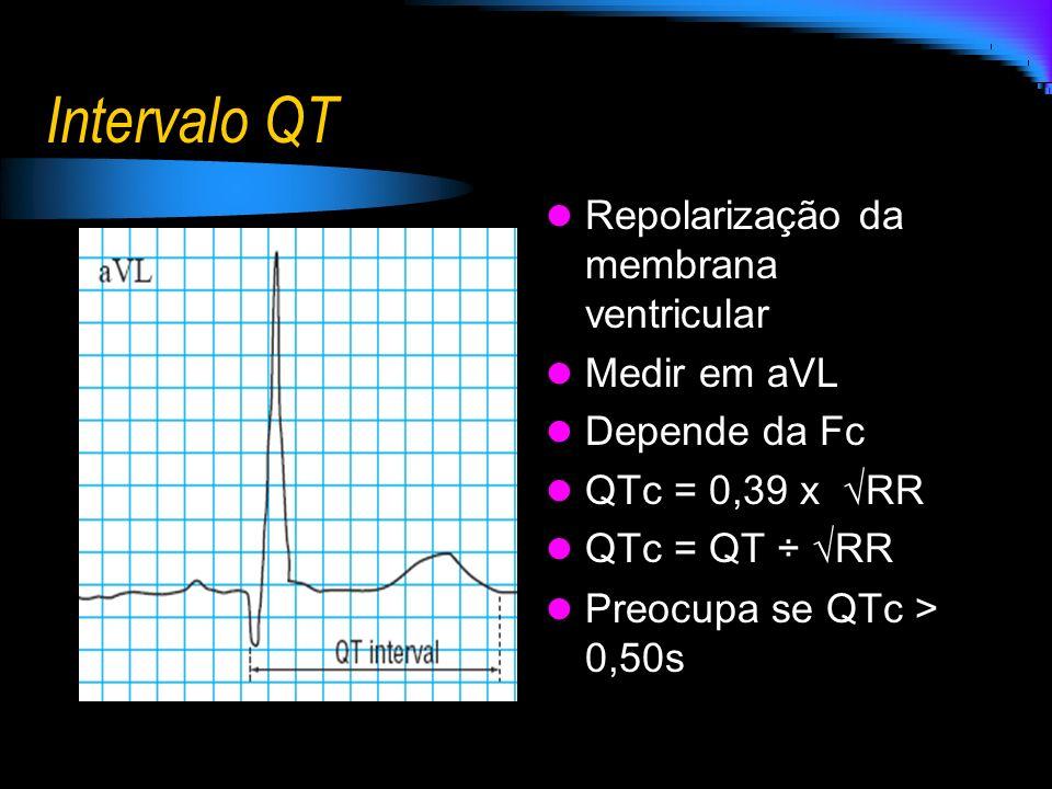 Intervalo QT Repolarização da membrana ventricular Medir em aVL
