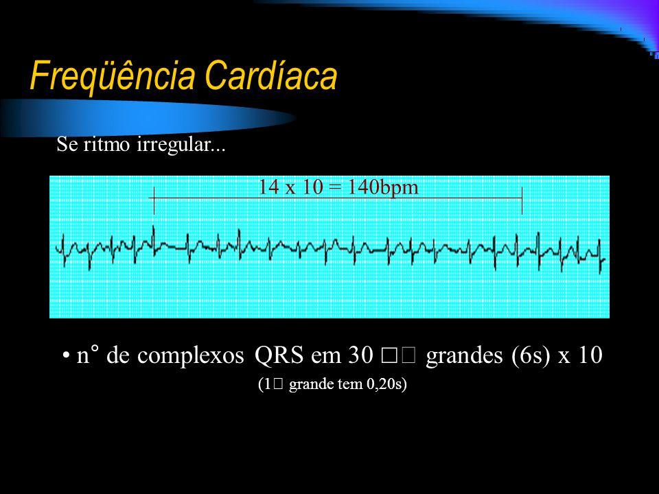 n° de complexos QRS em 30 ☐ grandes (6s) x 10