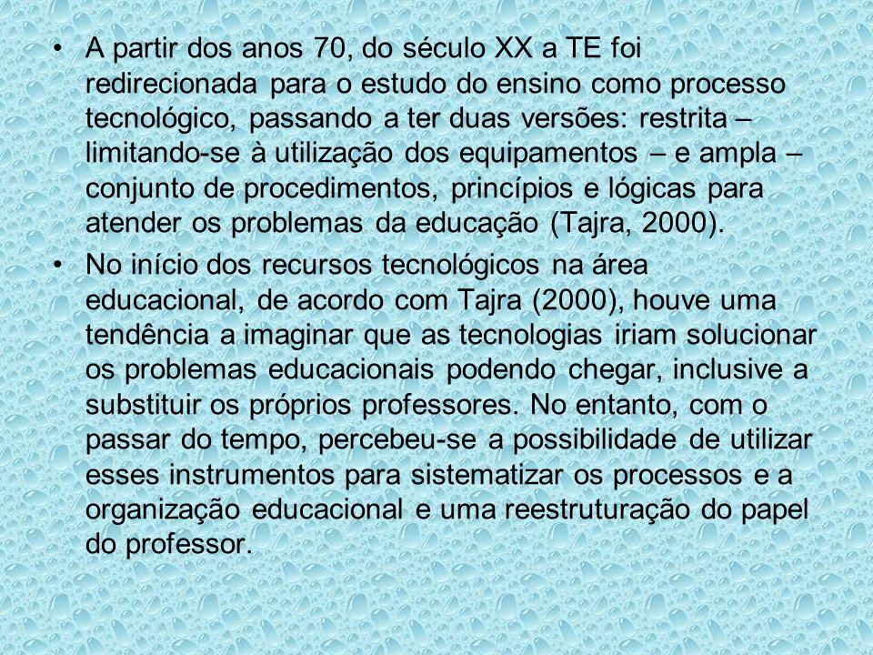 A partir dos anos 70, do século XX a TE foi redirecionada para o estudo do ensino como processo tecnológico, passando a ter duas versões: restrita – limitando-se à utilização dos equipamentos – e ampla – conjunto de procedimentos, princípios e lógicas para atender os problemas da educação (Tajra, 2000).