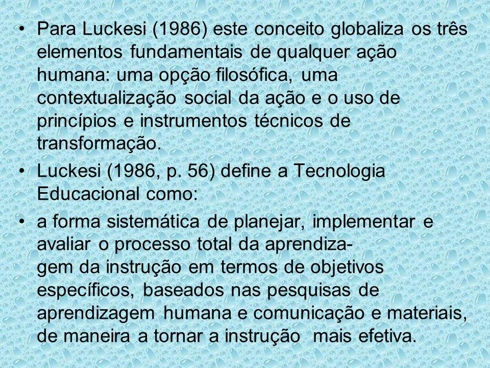 Para Luckesi (1986) este conceito globaliza os três elementos fundamentais de qualquer ação humana: uma opção filosófica, uma contextualização social da ação e o uso de princípios e instrumentos técnicos de transformação.