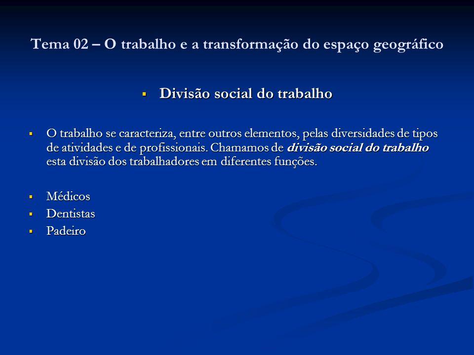 Tema 02 – O trabalho e a transformação do espaço geográfico
