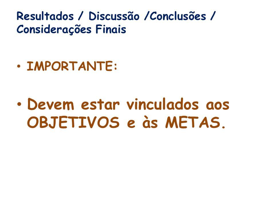 Resultados / Discussão /Conclusões / Considerações Finais