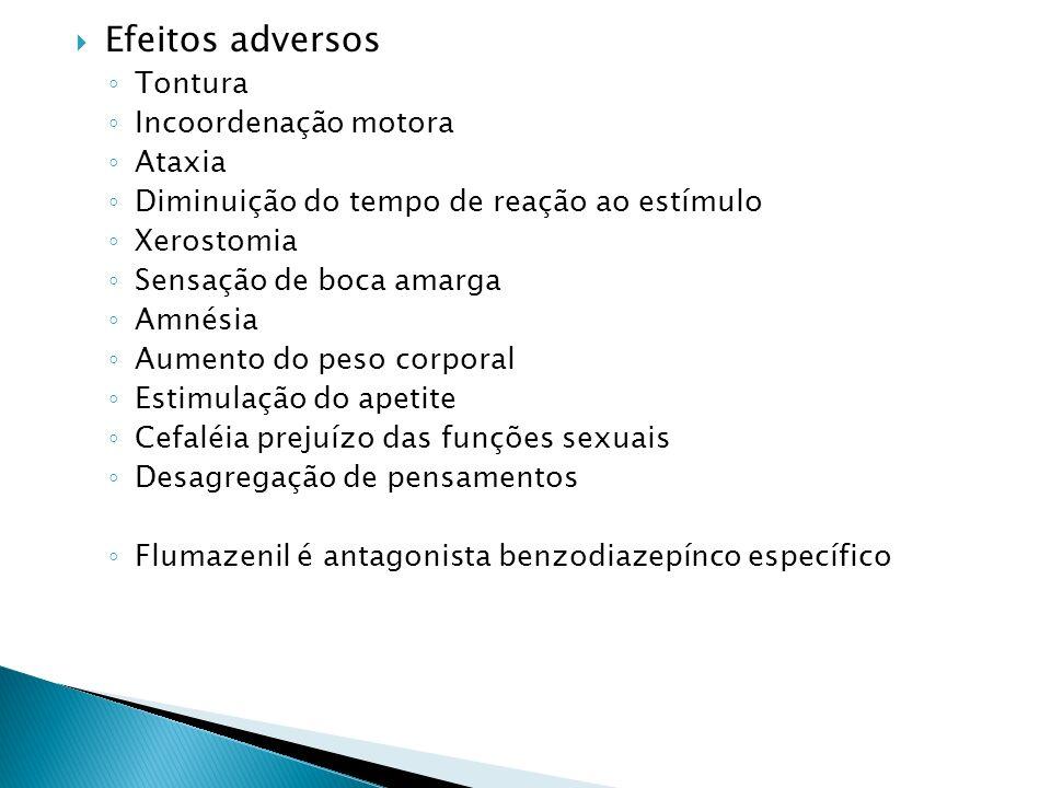Efeitos adversos Tontura Incoordenação motora Ataxia