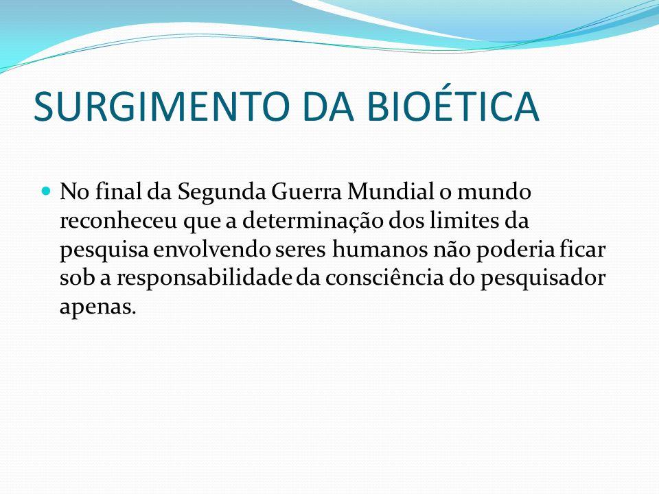 SURGIMENTO DA BIOÉTICA