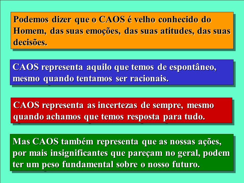 Podemos dizer que o CAOS é velho conhecido do Homem, das suas emoções, das suas atitudes, das suas decisões.