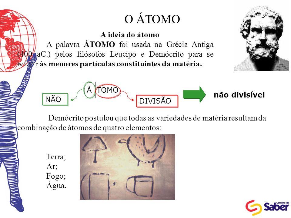 O ÁTOMO A ideia do átomo.