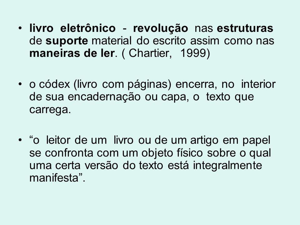 livro eletrônico - revolução nas estruturas de suporte material do escrito assim como nas maneiras de ler. ( Chartier, 1999)
