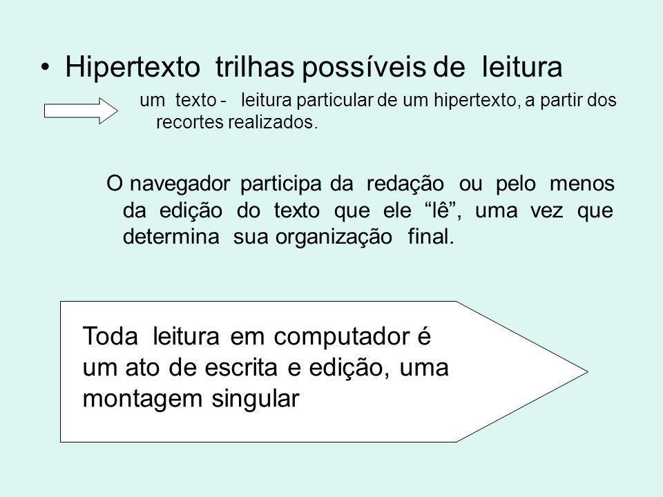 Hipertexto trilhas possíveis de leitura