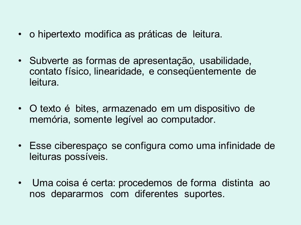 o hipertexto modifica as práticas de leitura.