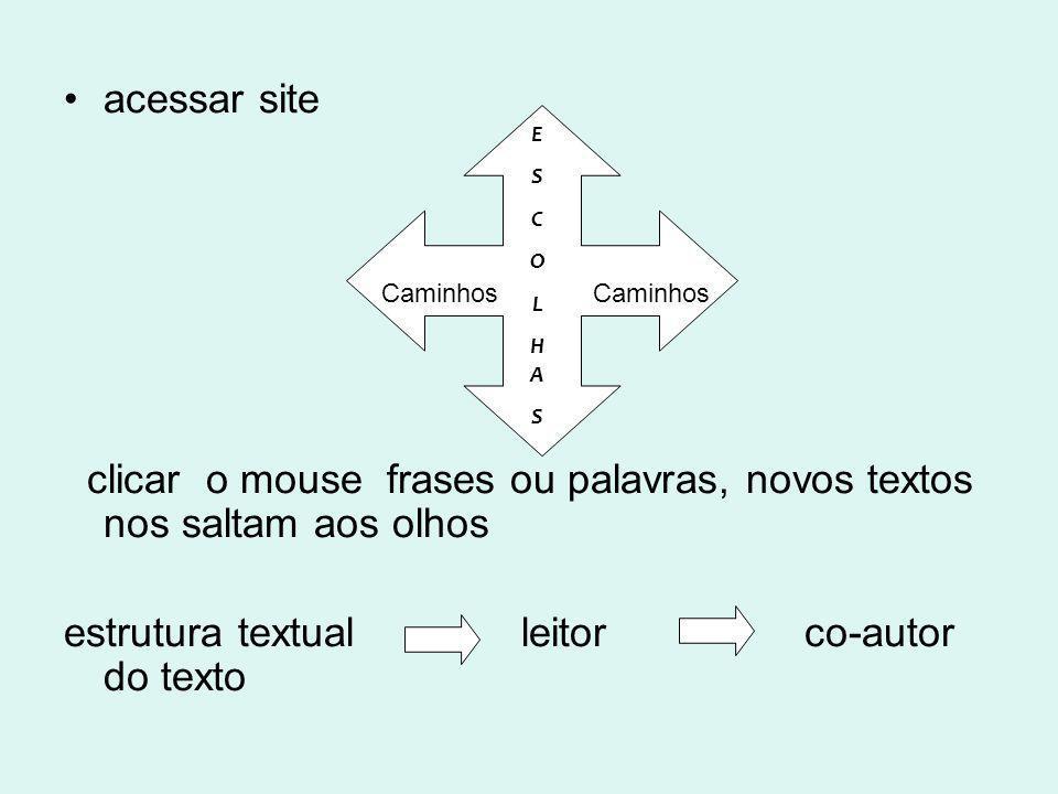 clicar o mouse frases ou palavras, novos textos nos saltam aos olhos