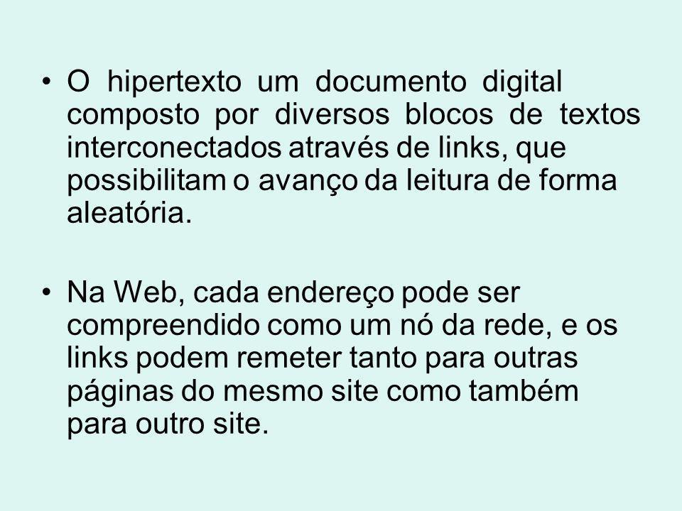 O hipertexto um documento digital composto por diversos blocos de textos interconectados através de links, que possibilitam o avanço da leitura de forma aleatória.