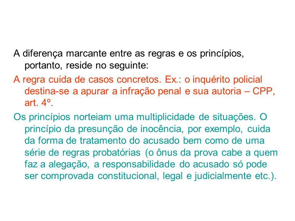 A diferença marcante entre as regras e os princípios, portanto, reside no seguinte: