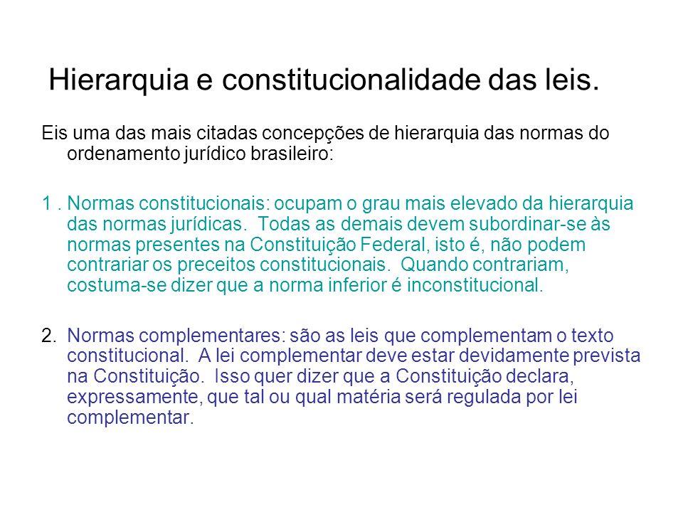 Hierarquia e constitucionalidade das leis.
